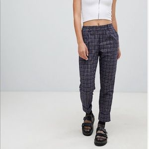 ASOS / Bershka Check Turn-up Pants in Navy